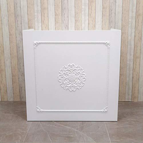 Mostrador Tienda Recepción Mueble Blanco de Diseño con Cajón, Cajonera Deslizante y Armarito