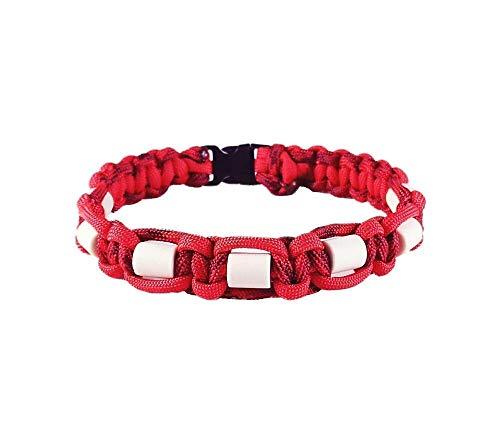EM-Keramik Halsband für Hunde, mit Name möglich, verschiedene Größen wählbar, original EM-X-Keramik-Pipes, hellrot/rot gemustert