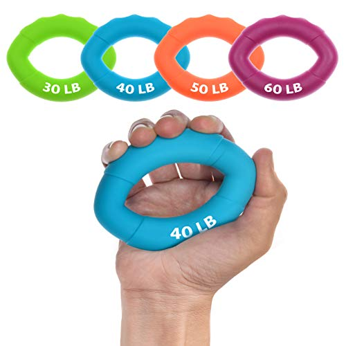 4 Pack Hand Strengthener  Finger Exerciser for Forearm and Hand Exercisers Ring  Hand Grip Workout Equipment for Musician Rock Climbing and Therapy  Hand Gripper Hand Exerciser Set Finger Grip Kit