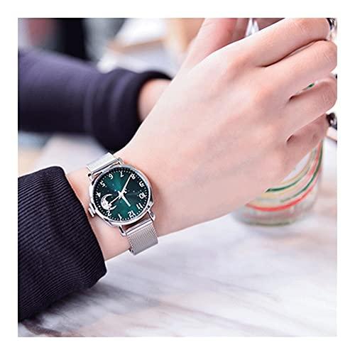 Relojes Pulsera para Mujeres Nuevo Concepto Cielo Estrellado Impermeable Cinturón Acero Caja De Aleación Movimiento Cuarzo Espejo Vidrio Reforzado con Minerales Estilo Retro Reloj Mujer
