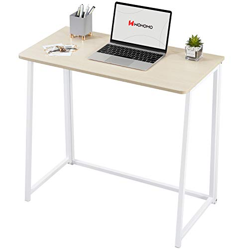 """WOHOMO 31.5"""" Folding Computer Desk Small Writing Desk Easy Assembly Space-Saving Foldable Laptop Table Writing Workstation for Home Office,Oak"""