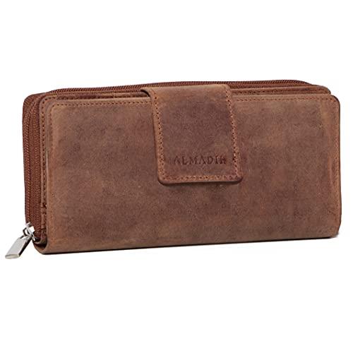 ALMADIH Damen Portemonnaie Mila Premium Rindsleder mit RFID - 26 Kartenfächer, 7 Einsteckfächer, 4 Geldscheinfächer, Metall-Reißverschluss Geschenkbox - Leder Langbörse Geldbörse Braun (Mila Vintage)