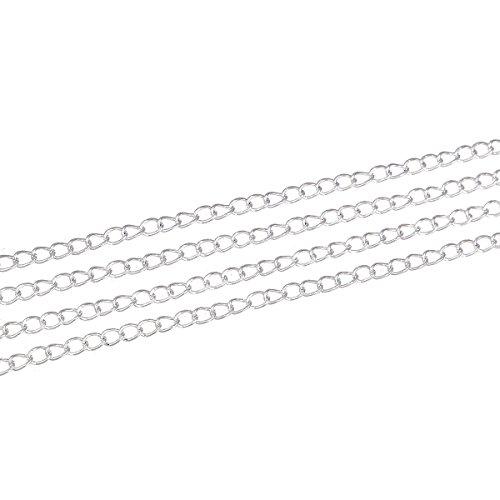 SiAura Material ® - 10m versilberte Gliederkette/Schmuckkette Meterware Schmuck, 5x3mm Glieder