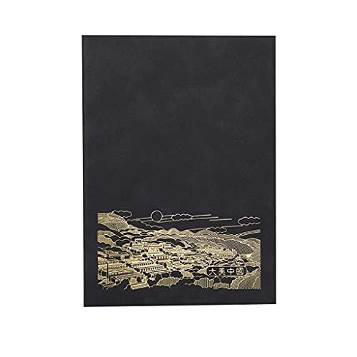 Lincheer Cuaderno for el Trabajo for la Nota Tomando la Revista Exquisite Cuaderno Creativo Simple Soft Cuero Office Work Bloc de Notas (Color : Black)