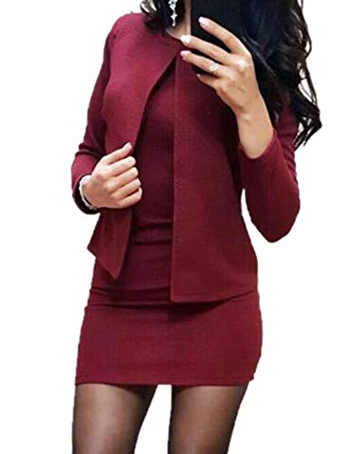 Kewing Blazer con Vestido Mujer Primavera Otoño Mujer Manga Larga Oficina Formal Elegante Chaqueta Traje Mini Vestido Conjuntos