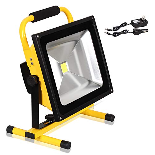 T-SUN 50W LED Work Light, Rechargeable Portable Flood Light, Waterproof Security Emergency Light for Outdoor, Camping, Working
