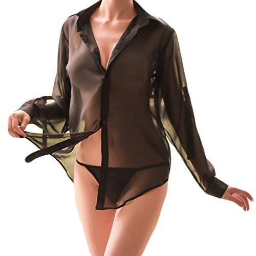 XPuing Frauen Sexy Sheer Shirt Sleep Pyjamas Langarm Mesh Bluse Dessous (Schwarz, XL)