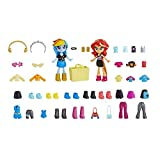 My Little Pony Equestria Girls Fashion Squad Rainbow Dash & Sunset Shimmer Mini Doll Set with 40+ Accessories