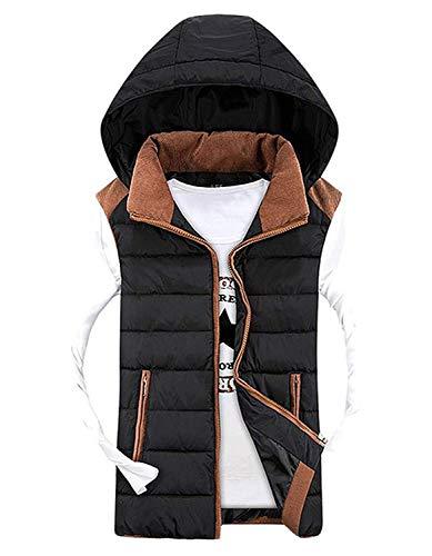Herren Kapuzenweste Sport Casual Weste Rmellose Daunenweste Jacke Winter Hooded Chic Mit Schluss Mischfarben Warme Polsterung Jacke Mantel (Color : Schwarz, Size : XL)