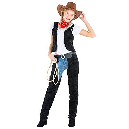 dressforfun Disfraz de mujer vaquera | chaparreras en imitación de cuero con bonita camiseta blanca y chaleco en imitación de cuero + pañoleta (S | no. 300559)