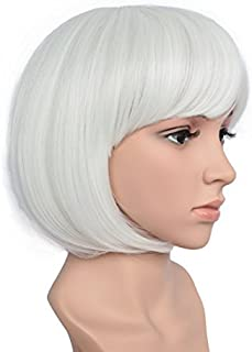 BESTUNG Short Straight Bob Hair Wigs with Flat Bangs for Women White Synthetic Heat Resistant Cosplay Party Costume Hair Wig
