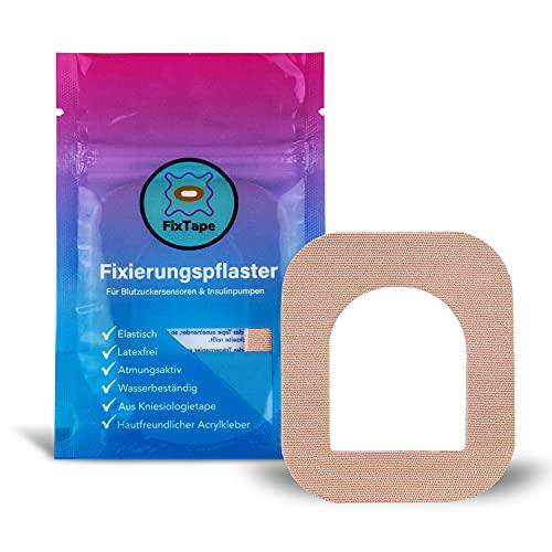 FixTape atmungsaktives Fixier-Tape für OmniPod I selbstklebendes Patch mit Loch für schlauchlose Insulin-Pumpe I hypoallergen hautfreundlich wasserfest in modernen Designs I 7 Stk (Beige)