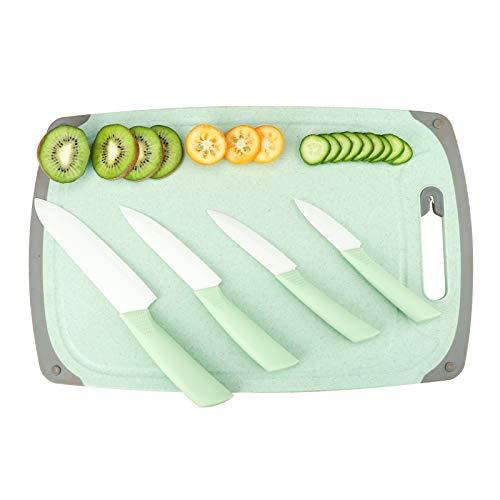 Ceramic Knife Set Kitchen Knives:(6'Chef's Knife,5'Utility Knife,4'Fruit Knife,3'Paring Knife,Extra Large Plastic Cutting Board With Sharpener)