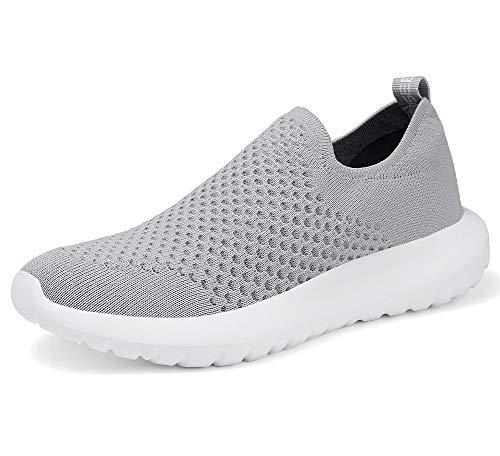 Echoine Damen Slip On Sneakers – Casual Mesh Athletic Bequeme Wanderschuhe, Grau (9322 Grau), 39.5 EU