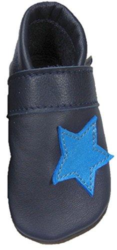 Mopu's® Krabbelschuhe - Lederpuschen blau mit hellblauem Stern- handgemachte Markenqualität aus Deutschland