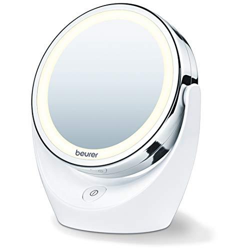 Beurer - Specchio cosmetico con ingrandimento 5x, doppio lato, illuminato a LED, rotazione di 360°, pulsante on/off, finitura cromata, senza fili, batterie incluse, BS49