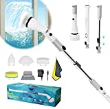 Shower Cleaning Brush, Electric Spin Scrubber, Cordless Shower Scrubber for Cleaning, Tub and Tile Power Scrubber, Adjustable Extension Handle & 4 Replaceable Brush Heads for Home,Kitchen,Floor,Car