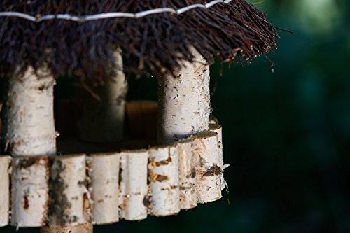 Vogelhaus inkl. Ständer – Birke Natur runder Pavillon mit Dach aus Birkenreisig - 6