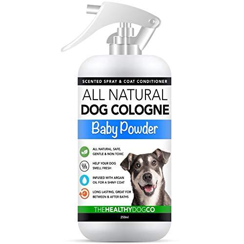 Colonia Para Perros en Espray Completamente Natural / Perfume en Espray Para Perros | Talco Para Bebés | Desodorante, Desenredante y Acondicionador del Pelaje en Espray Para Perros | 250 ml