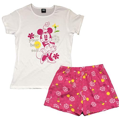 E-Fashion Pijama Minnie Mouse Short, Rosa con Blanco de Short, Suave y cómoda para Dormir (Chica)