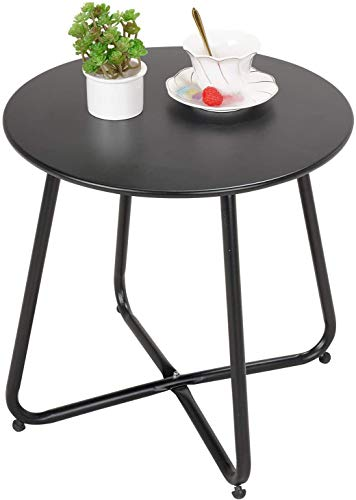 Grand patio Outdoor Side Table, Various of Colours, Metal Garden Table, Lightweight, Weather Resistant, Snack Table for Living Room, Hallway, Bedroom, Garden, Terrace, Balcony (Black)