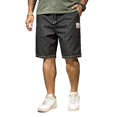 Pantalones Cortos de Mezclilla para Hombre, impresión de Letras Grandes Personalizadas de Verano, Pantalones Rectos Casuales Sueltos, con Bolsillo y cordón 46