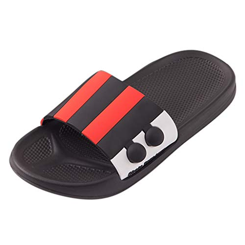 AIni Zapatillas de Lunares de Verano para Mujer Zapatos de Casa Zapatillas de BañO Sandalias de Rayas de Los Hombres Zapatos Planos de Confort Interior Blanco Rosa Amarillo Rojo Gris 36-45 EU