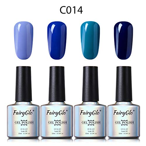 UV Nagellack Gel Shellac Set Nail Polish Set Soak Off UV LED Gel Gellack Blau Farbe von Fairyglo 4 X...