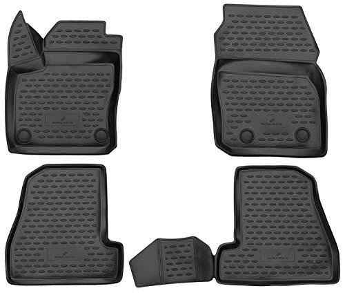 Walser XTR Gummifußmatten kompatibel mit Ford Focus III Baujahr 2010 - Heute, passgenaue Auto Gummimatten, Autofußmatten Gummi