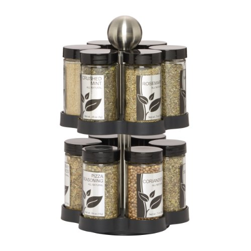 Kamenstein 5108304 Madison 12Jar Revolving Countertop Spice Rack Organizer with Free Spice Refills for 5 Years Black