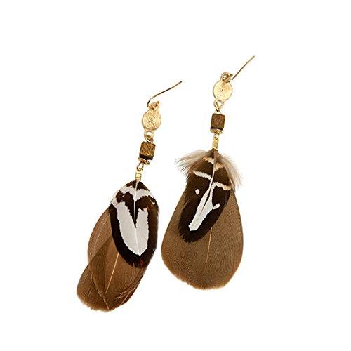 Ms. Swan Braune Indische Feder Lang Frauen Gold hängende Ohrringe
