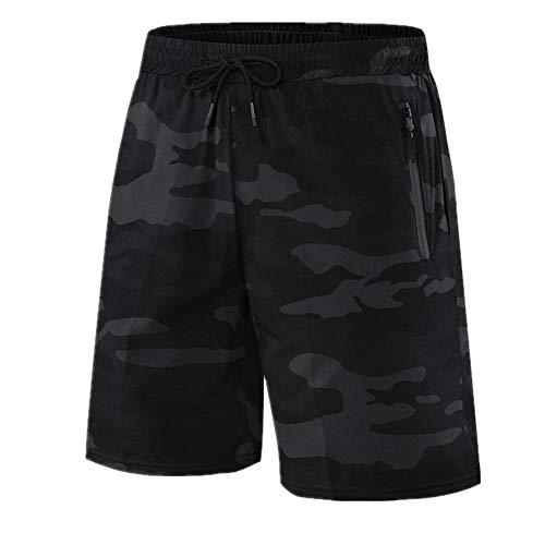 N\P Verano Correr Pantalones Cortos Camuflaje Deportes Jogging Cortos Fitness Entrenamiento de Secado Rápido de los Hombres Cortos de Fitness - negro - Medium