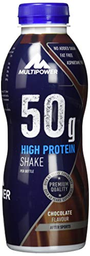 Multipower High Protein Shake Chocolate – fett- und kalorienarmer Fitness Shake für den Muskelaufbau – Eiweißshake mit Schoko-Geschmack – ready to drink – 12 x 500 ml
