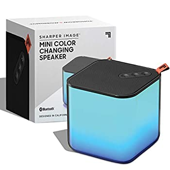 SHARPER IMAGE Mini Color Changing Speaker Sync to Smartphone or Tablet with Bluetooth Impressive Sound Quality Stream 4 Hours per Charge Rechargeable LED Speakerphone