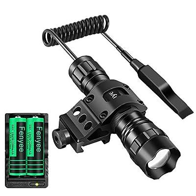 Fenyee Adjustable Tactical Flashlight 350 Yards 1300 Lumen Spotlight Floodlight with Offerset Mount for Outdoor Hunting