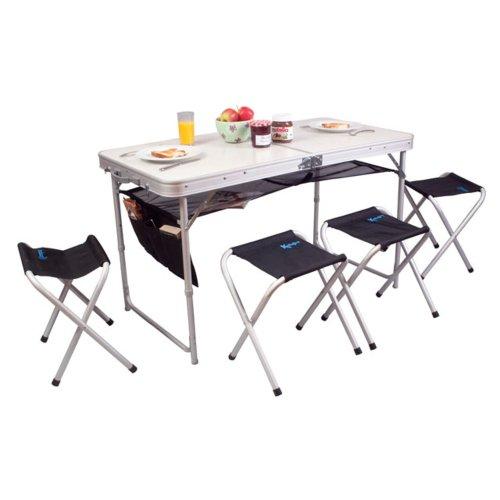 Kampa - Jeu de table 120x60cm et 4 tabourets alu