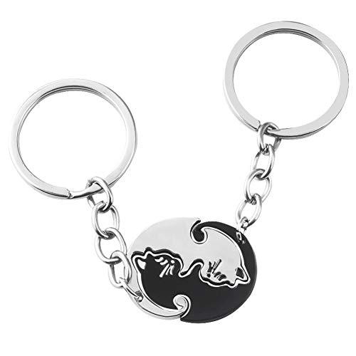 Leuke zwarte witte kat paar sleutelhanger dier kat hanger sleutelhanger voor vrouwen mannen Choker sleutelhanger