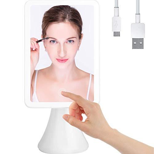 Peralng Kosmetikspiegel mit LED Licht, Faltbarer Tischspiegel, Makeup Spiegel mit Touchschalter für Dimmbarer Helligkeit Tragbarer USB Wiederaufladbar