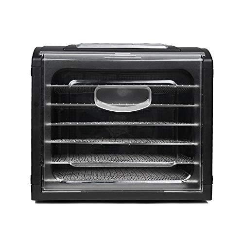 Secador de alimentos horizontal, 6 estantes de acero sin BPA aptos para lavavajillas, desecador para frutas, verduras, carne, pescado, gelatina, hierbas aromáticas. Temperatura de 35 °C a 70 °C.