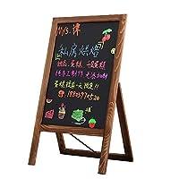 レトロクラシック看板 木製 スタンド 屋外 黒板ボード棚付き カフェ 飲食店 サロン 立て看板 ポータブル 手書きチョーク マーカー蛍光ペン (B)