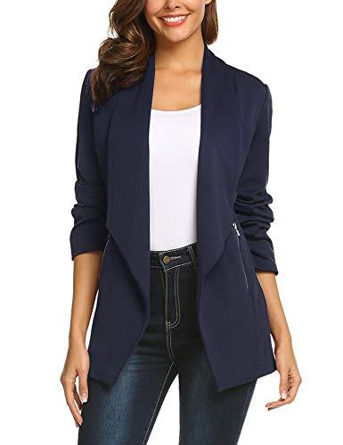 Concep Lightweight Casual Long Sleeve Open-Front Blazer Jacket Womens Work Office Coats Plus (Navy Blue, M)