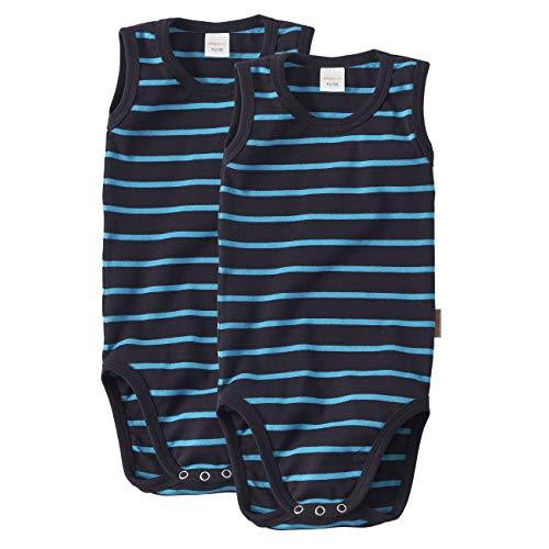 wellyou Doppelpack Baby Body- Kinder Body ohne Arm marine türkis gestreift Größe 104-110