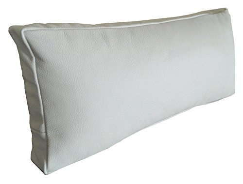 Weiß Echt Leder Nackenkissen Lederkissen Sofa Dekokissen Rindsleder Kissen Kopfstützen Kopfkissen Zierkissen (22 x 60 cm)