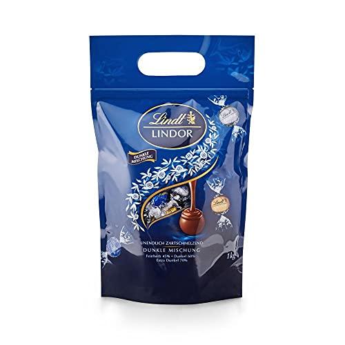 Lindt LINDOR Beutel Dunkle Mischung, Dunkle Schokolade (Feinherb 45%, Dunkel 60% und Extra Dunkel 70%), Geschenk, Großpackung (ca. 80 Kugeln), 1 kg