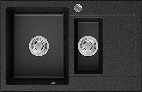 Lavello in Granito con Sifone Siviglia Lavello da Incasso Grafite Lavello Armadio Cucina 60cm Lavandino in Granito con Sifone Automatico e Troppopieno Primagran