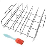 Cataumet BBQ Rib Rack Holder Smoking Rack with Silicone Basting Brush Fits Big Egg Kettle Style Grills Gas Grills Smokers Made with Genuine 304 Stainless Steel
