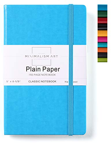 Minimalism Art, Classic Notebook Journal, A5 Size 5 X 8.3 inches, Blue, Plain Blank Page, 192 Pages, Hard Cover, Fine PU Leather, Inner Pocket, Quality Paper-100gsm, Designed in San Francisco