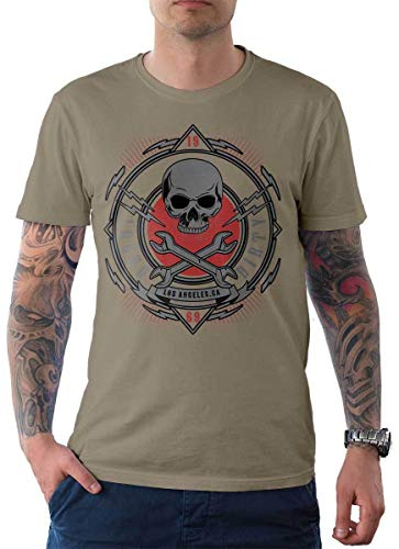 Rebel on Wheels heren t-shirt Tee Loud and Dirty Skull Doodskop HD Bike Biker Motorfiets