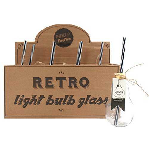 Set di 8 retro lampadina bere barattolo in vetro con cannuccia