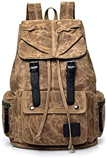 Backpack Canvas Backpack, Large-Capacity Anti-Theft Travel Bag, Retro Casual Computer Bag, Suitable for Cycling Mountaineering Camping 45cm x 32cm x 18cm Grey